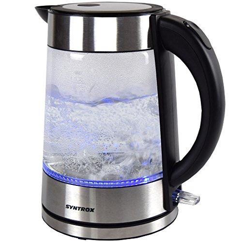 Syntrox Germany WK-2000W-1.7G Lago 2000 Watt 1,7 Liter Edelstahl schnurlos Glas Wasserkocher mit blauem LED Licht 360° cordess Wasserkessel Teekessel - 3