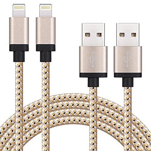 SURWELL Lightning zu USB Kabel [2-Pack]*2m iphone Kabel Ladekabel Nylon für iPhone 6 Plus 6S SE Plus 5S 5C 5, iPad Air 2, Mini 3, iPod 5 und iPod Nano 7