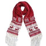 NPRADLA 2018 Schal Weihnachten Damen Winter XXL Unisex Weihnachten Rentier Schneeflocke Schal Warm Thick Winter Quasten(One Size/200CM*20CM,Rot-2)