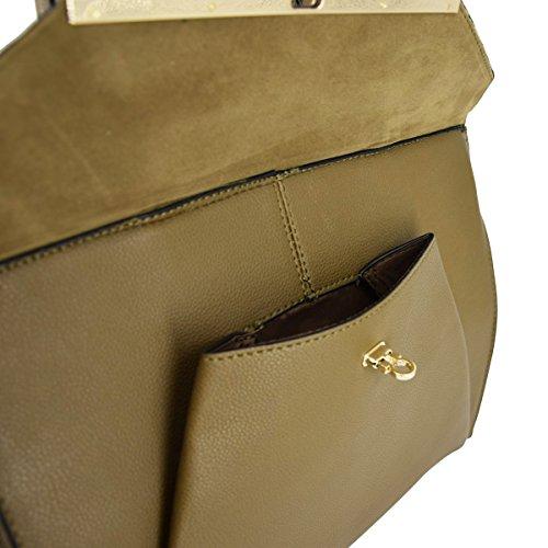 CRAZYCHIC - Borsa a mano donna con Girello oro e tasca frontale - Borsa manico - Borsa a spalla formato cartella - Con tracolla - imitazione pelle - borsa del progettista Verde Kaki