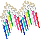 16 Pieces Paint Brushes Large Flat Bristle Tip Paint Brush with Plastic Handle for Artist Kids Painting, 8 Colors