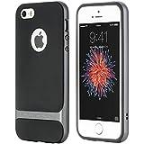 """ROCK """"Royce"""" cubierta dura del caso TPU de parachoques de la piel Shell trasero protector para el iPhone SE/ iPhone 5S/5C/5(Gris)"""