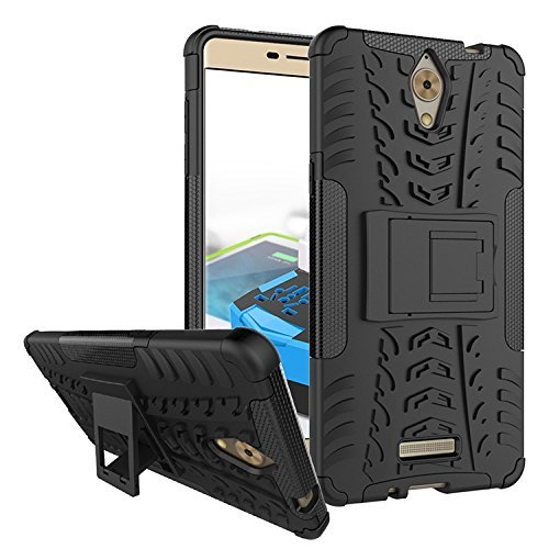 Qzey Tough Hybrid Flip Kick Stand Spider Hard Dual Shock Proof Rugged Armor Bumper Back Case Cover for Coolpad Mega 2.5D - Rugged Black