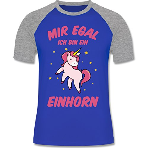 Einhörner - Mir Egal Ich Bin ein Einhorn - Herren Baseball Shirt Royalblau/Grau meliert