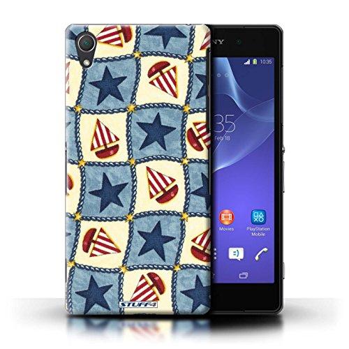 Kobalt® Imprimé Etui / Coque pour Sony Xperia Z2 / Pourpre/Vert conception / Série Bateaux étoiles Bleu/Rouge