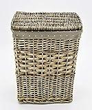 KUHEIGA Wäschekorb aus Weide, eckig Höhe: 48cm Korb Weidenkorb mit Deckel