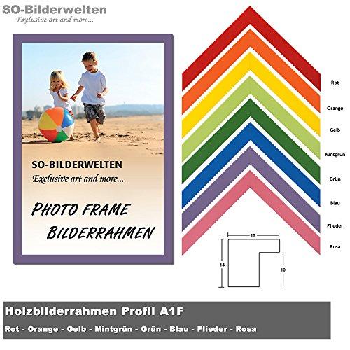 2. Wahl Holz Bilderrahmen 21x29,7cm DIN A4 Flieder inklusive bruchsicherem Antireflex-Acrylglas (Kunstglas entspiegelt) Profil A1-FL-AR2W