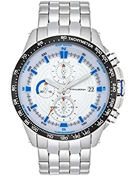 Stahlbergh Svendborg Herren-Uhr Chronograph 5 ATM silber / blau Edelstahl-Armband silber 10060112