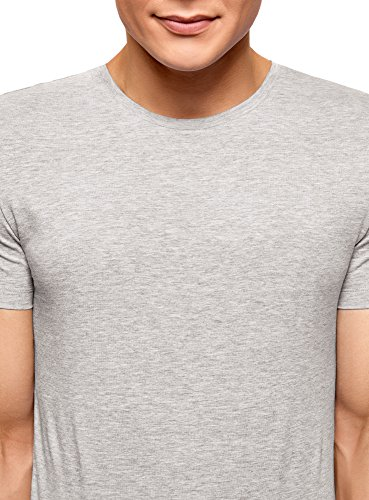 oodji Ultra Herren Tagless T-Shirt Basic (3er-Pack) Grau (2300M)