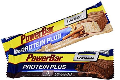 Powerbar Protein Plus Low Sugar Riegel MIX-BOX (Chocolate Brownie/Chai Latte Vanilla) 30x35g (Vanille-quest Protein)