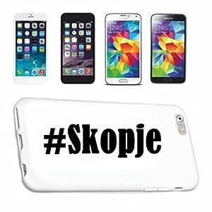 Étui pour téléphone portable HTC M8# Skopje... Blanc avec hashtags... slim et Superbe, qui de Notre Hardcase. L'étui est fixé avec un clic sur votre Smartphone... réseau social Coque de protection rigide pour téléphone portable Housse Smart Cover pour HTC Smartphone