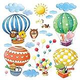 Decowall, Da-1406b Stickers muraux au design montgolfières avec animaux, facile à coller et décoller pour chambre d'enfant, salle de séjour