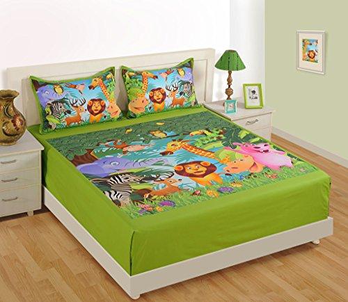 Yuga decorativo bambini verde e arancione Digital Print Kids Fate Doppia Lama di letto con copertine 2Cuscino 1 Double Kids Bed Sheet + 2 Pillow Covers