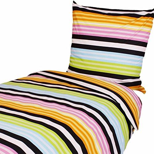 Bettwäsche 135x200 80x80 cm, Bunte Streifen, Baumwolle, Gestreift, Streifenmuster, für Kinder und Jugendliche