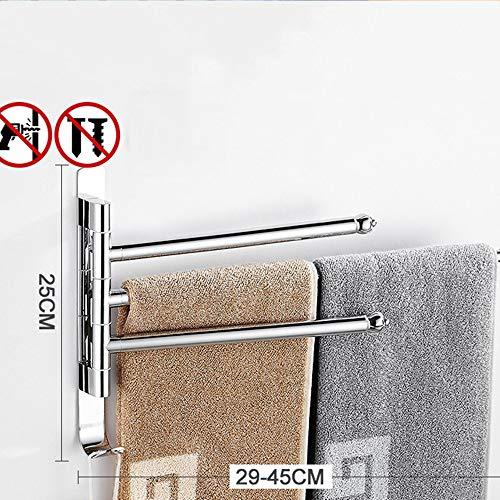 XINSU Home Handtuchhalter von Punch Turn Badetuchhalter Toilette Edelstahl Handtuchstange Doppel Bar Bad Handtuch Par DREI, Teleskopstange 3 (Color : The Telescopic Rod 3)