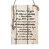 Wand Deko Holzschild mit Spruch im Shabby Chic Vintage Stil (29x20x0,5cm) Familien Regeln - die Geschenkidee