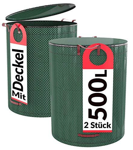 Praknu 2er Gartensack mit Deckel - 500L Groß - Verschließbar - 4 Reißfeste Griffe - Robustes Polypropylen