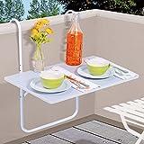 DRULINE Balkontisch Hängetisch Balkon Tisch Weiß Terrassentisch Klapptisch Gartentisch