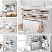 Prodotto 4 in 1 Plastic Triple Foil Cling Film Tissue Paper Roll Stand Dispenser for Kitchen (Multi)