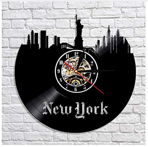 Ayzr 1 Stück Moderne NYC Cd Schallplatte Wanduhr New York Cityscape Zeit Uhr Modernes Design Skyline 3D Kunst Decor Wanduhr Uhr 12inch(30cm)