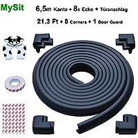 MySit Edge Guards and Safe Corner Cushion 23 ft [ 21.3Ft Edge + 8 Corners] Thick Anti-Collision Soft Bumper Door Stopper Jammer Finger Protector (Edge_Corner_Black_6.5M)