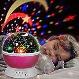 Etoiles Projecteur, innislink Lampe de Projection Nuit Étoilée Veilleuse Enfants Rotative Nuit Romantique Projection Lampe Bébé d'éclairage Moon Star 4 LED Lampe Projecteur d'étoile Lumière - Rose