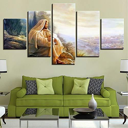 syssyj (Kein Rahmen) Moderne Leinwand Home Decor Gemälde Wandkunst 5 Stücke Jesus Christus Bilder Wohnzimmer Hd Drucke Ehre Gott Poster