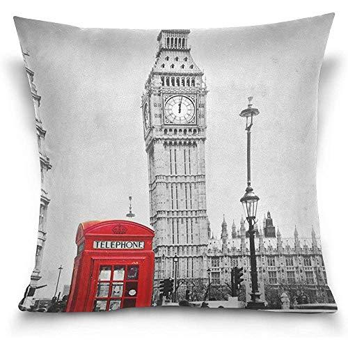 Vintag London Big Ben Cabina de teléfono roja Elegante Funda de Almohada...