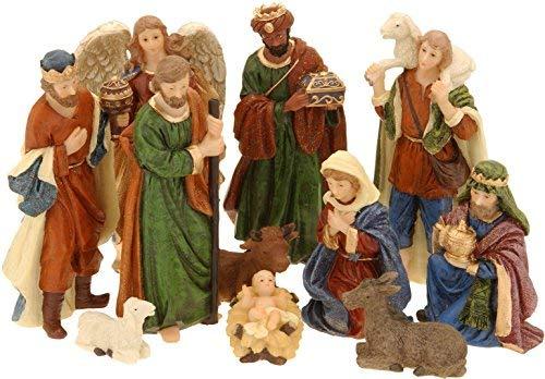 Spetebo Weihnachtskrippe Figuren - 11 Teile - Krippe Figur handbemalt Krippenzubehör