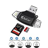 #6: SD/Micro SD Card Reader for iPhone iPad/Android Phone/Apple MacBook/Computer, Memory Card Adapter with Lightning, Micro USB, USB C, USB 3 Interfaces, Picture and Video Viewer for Camera (4 in 1)