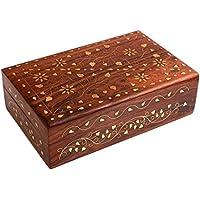 india bigshop Regalo di giorno del padre Artigianali in legno indiano Jewelry Box Brass Inlay fiore unico e Colore foglia d'oro di design 8 x 5