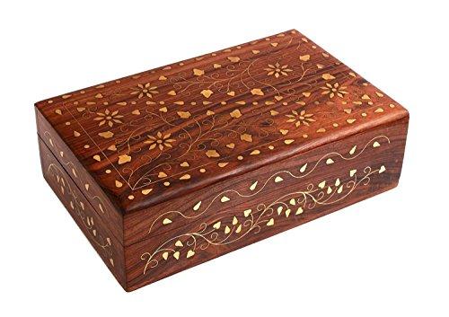 Indiabigshop Holz handgefertigte Messing und Inlay Arbeit Vinatge Box für Schmuck Speicher 7X5 Zoll