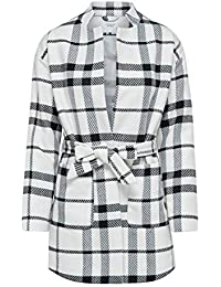 05e2c87ed97 M Co Jdy Ladies Long Sleeve Open Front Collarless Tie Waist Belt Check Coat