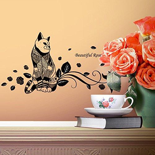 SecondStep Cat English Rose Zimmer In Warmen Und Duftenden Romantische Artikel Liebe Katze 120*55 CM Kreative Wand Aufkleber Mode Wandtattoos Umweltschutz Wandbild Dekoration Flugzeug Dekoratives Material Wallpaper