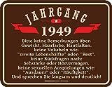 RAHMENLOS Deko Blechschild zum 70. Geburtstag Jahrgang 1949