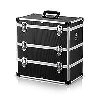IKayaa Hard Tool Box Case Aluminium Case Storage Flight Case Large Storage Container with Handle 3 Layer
