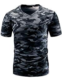79012aadd957 VEMOW Sommer Sport Männer Casual Camouflage Print V-Ausschnitt Pullover  Kurz T-Shirt Top