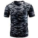 VEMOW Sommer Sport Männer Casual Camouflage Print V-Ausschnitt Pullover Kurz T-Shirt Top Bluse T-stücke Pulli(Grau, EU-58/CN-2XL)