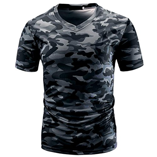 VEMOW Sommer Sport Vatertag Geschenk Männer Casual Camouflage Print V-Ausschnitt Pullover Kurz T-Shirt Top Bluse T-stücke Pulli(Grau, EU-58/CN-2XL)