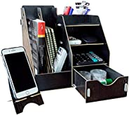 MineDecor Wood Desk Organizer Drawer Trays Office Desktop Organizers File Holders Office Supplies 4 Tier 6 Com
