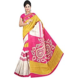Winza Women's Cottton Saree with Blouse (Yellow)