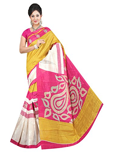 Winza Designer Cotton Saree with Blouse Piece (1133+Yellow_Free Size)