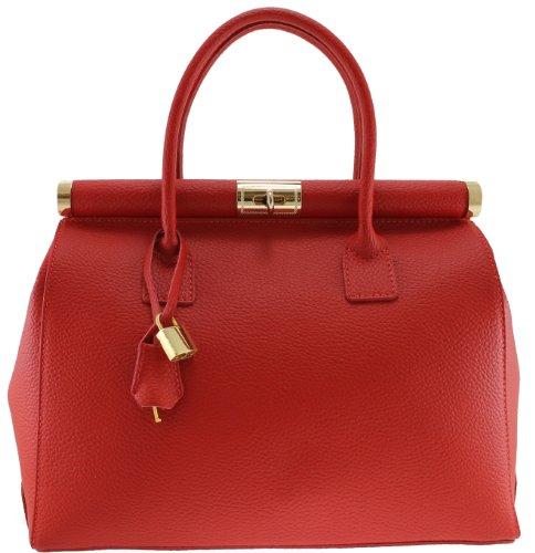Chicca Tutto Moda Borsa Rosso Bauletto da Donna Elegante con Manici e Tracolla in Vera pelle Made in Italy 35x28x16cm