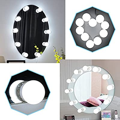Vanity Mirror Lights Kit, Bedee Hollywood Style LED Mirror Lights Kit 10 LED Bulbs Lighting Fixture Strip for Vanity Makeup Dressing Table Set Natural Light Pure White 6500K Dimmable DIY Stick On Mirror Light Set