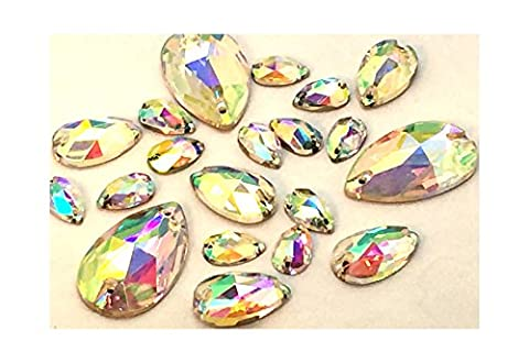 Sew on Crystals, EIMASS® 8868 Exquisite Range for Costume Embellishment, Gems (11 x 18mm, Crystal AB Teardrop)