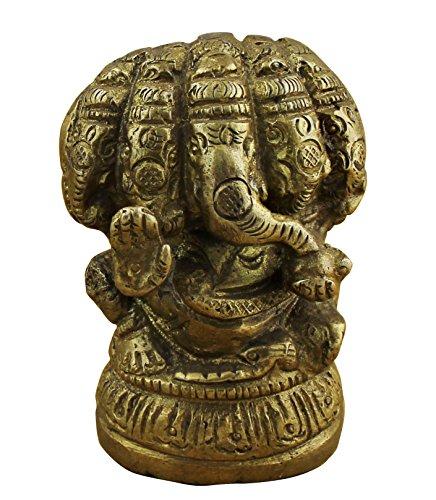Indian God Ganesha Figurine - Handmade Brass Statue Hinduism Car Dashboard Idols - 2