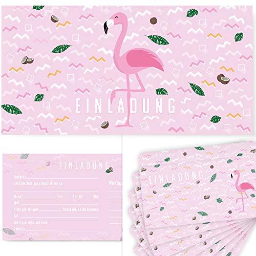 Kostüm Mädchen Pinata - Postkartenschmiede 12 Flamingo Einladungskarten Geburtstag Kinder Mädchen, Einladung Kindergeburtstag, Einladungen Deko Flamingo-Party, Partyset Einladungskarte mit Flamingos für Maedchen (rosa)
