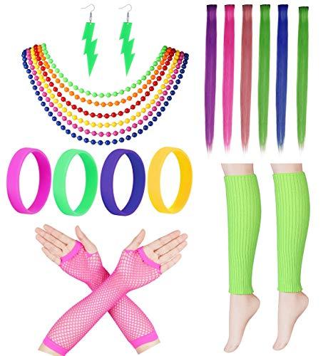 Milacolato 80er Jahre Outfit Kostüm Zubehör Beinlinge Handschuhe Neon Ohrringe Armband Sets für 1980er Jahre Thema Party Supplies