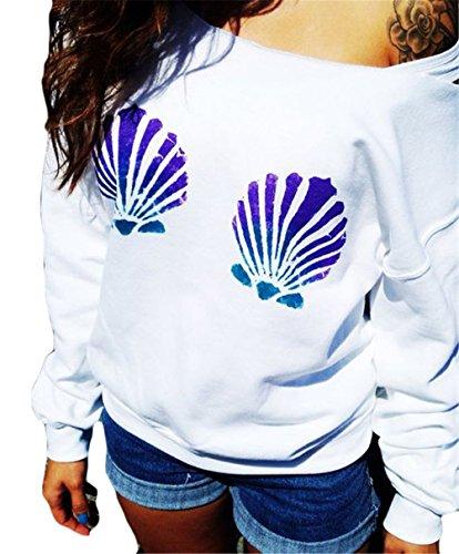 Damenmode Langarm-Boots-Kragen Shell Printing dünne Sweatshirt Bluse Weiß