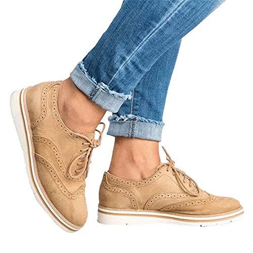 Brogues Femme Suède Derbies Chaussure de Ville à Lacets Plate Oxford Été Casual Basses Baskets Travail Université Sneaker Marron 39